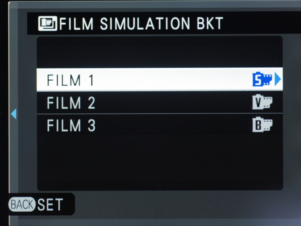 Setting up Film Simulation Bracketing