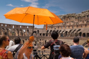 Orange umbrella - I followed this lady for ages, think she rumbled me in the end. XF10-24mm, 1/125sec at f/22, ISO 400.