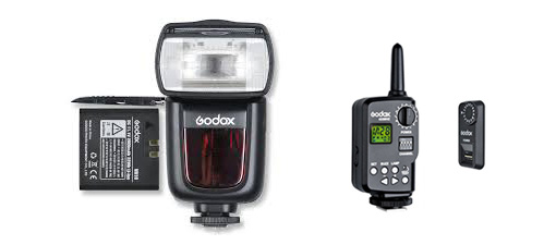 From left to right: The Godox V850 manual flash with its handy Li-ion battery, the trigger to put on the hotshoe of the camera and the receiver which clips on the side of the flash.