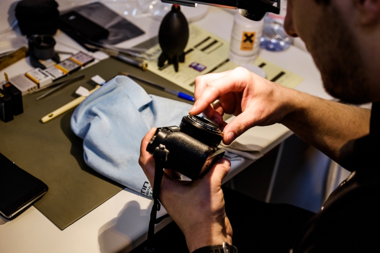 A Fujifilm camera getting some TLC