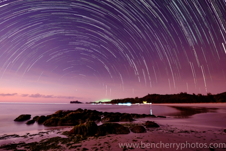 The complete star trail before editing to remove the ambient lights.