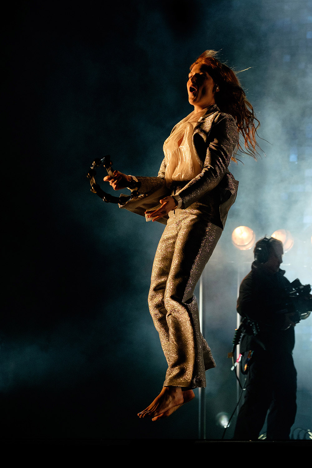 Florence and the Machine performs on the Pyramid stage at Glastonbury Festival 2015, on Worthy Farm, Somerset. Florence was moved up the running order due to the Foo Fighters having to drop out. June 26 2015.