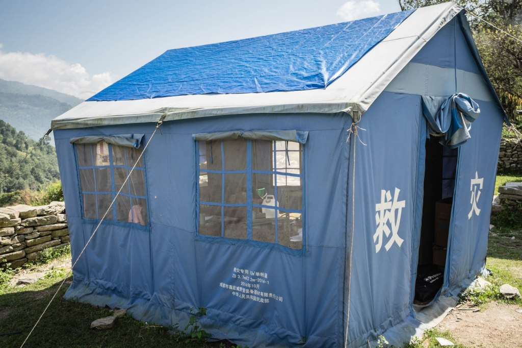 Temporary health post in Lakuri Danda, Dolakha, Nepal. Dolakha district is one of the hardest hit April 25th Nepal earthquake disaster zones in Nepal.