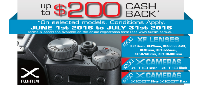 Fujifilm Australia X Series Cash Back