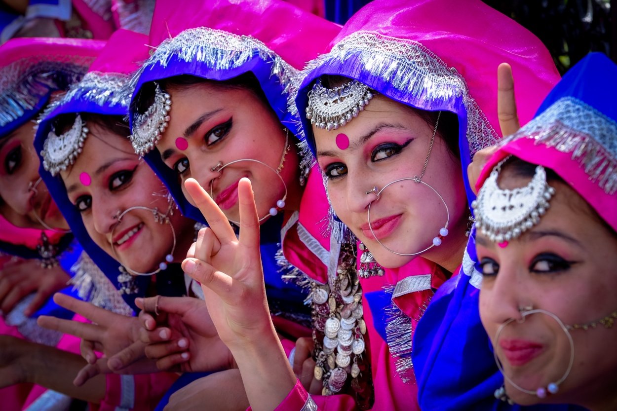 "Shimla, Himachal Pradesh, India. Young women in traditional dress during Himachal Day. Himachal Day celebrates the creation of the State of Himachal Pradesh after independence in 1948. Hima means snow in Sanskrit and Himachal literally means ""The land of snow"""