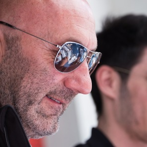 Former French Soccer Captain and now LMP2 race driver in the European Le Mans Series Fabien Barthez signs autographs for fans in the pitalne at Imola.