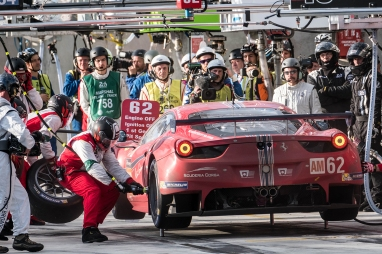 The media focus on the leading car in the LMGTE Am class at the 24 Hours of Le Mans