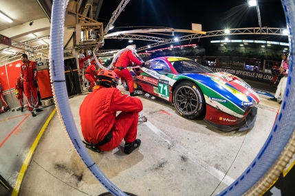 The no71 AF Corse Ferrari in for a fuel stop.