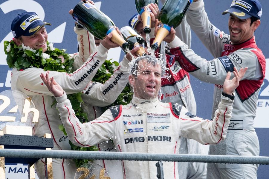 Romain Dumas (FRA) celebrates winning the 2016 24 Hours of Le Mans for Porsche.